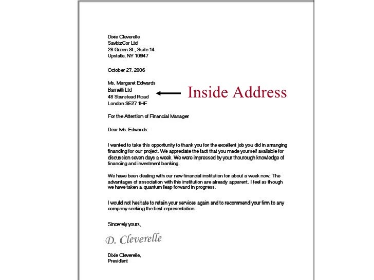 How to write a business letter without an address