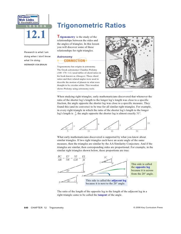 L E S S O N                  Trigonometric Ratios 12.1                         Trigonometry is the study of the           ...