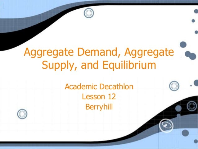 Aggregate Demand, Aggregate   Supply, and Equilibrium       Academic Decathlon           Lesson 12            Berryhill