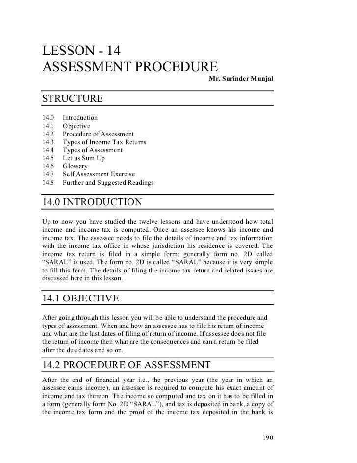 LESSON - 14ASSESSMENT PROCEDURE                                                              Mr. Surinder MunjalSTRUCTURE1...