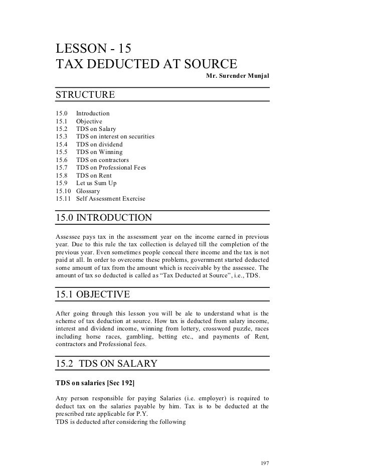 LESSON - 15TAX DEDUCTED AT SOURCE                                                       Mr. Surender MunjalSTRUCTURE15.0  ...