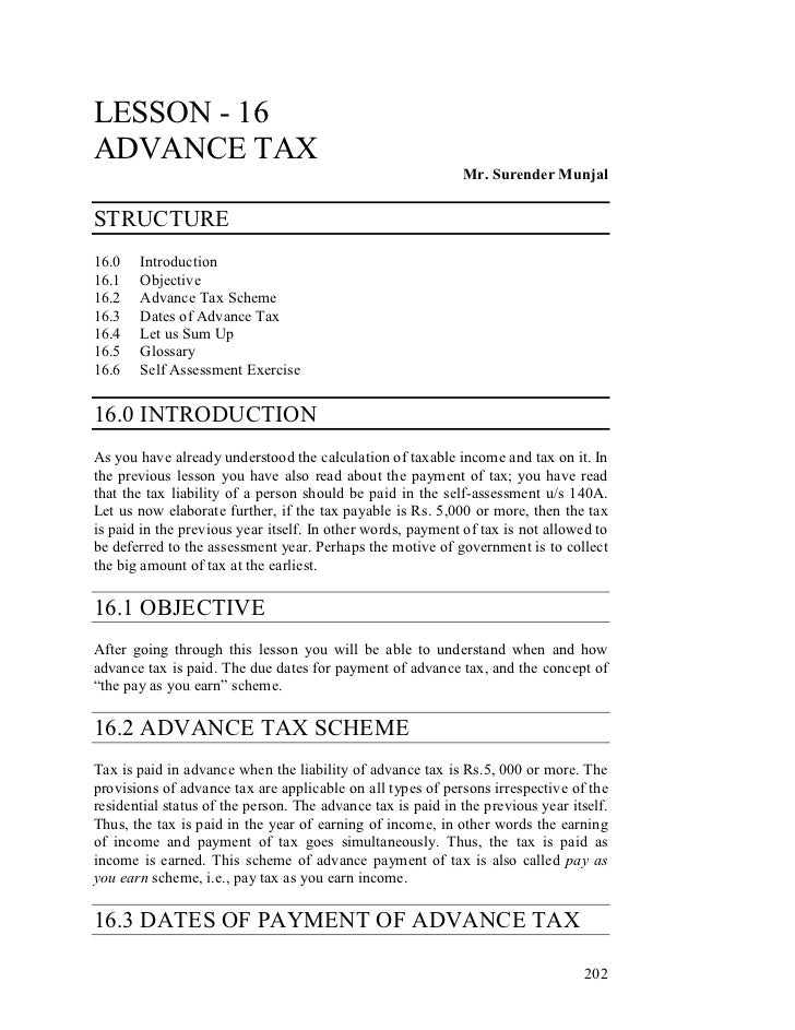 LESSON - 16ADVANCE TAX                                                             Mr. Surender MunjalSTRUCTURE16.0   Intr...