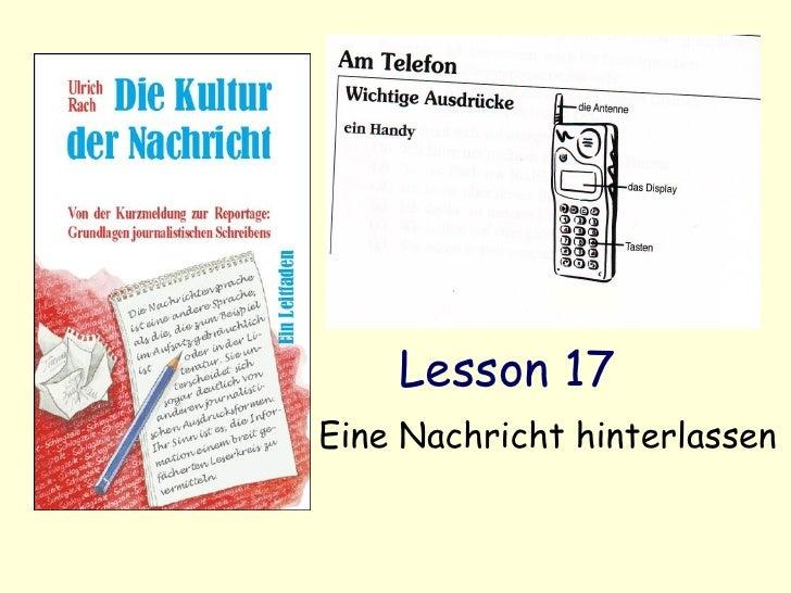 Lesson 17 Eine Nachricht hinterlassen