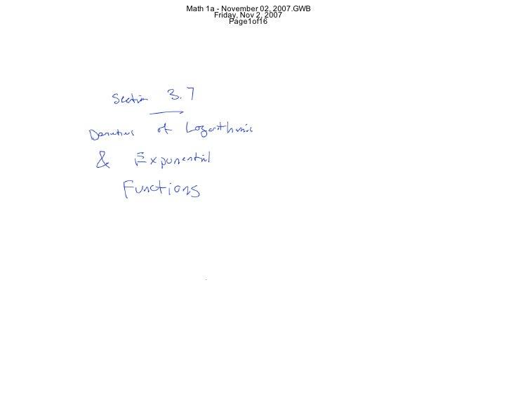 Math 1a - November 02, 2007.GWB        Friday, Nov 2, 2007            Page1of16
