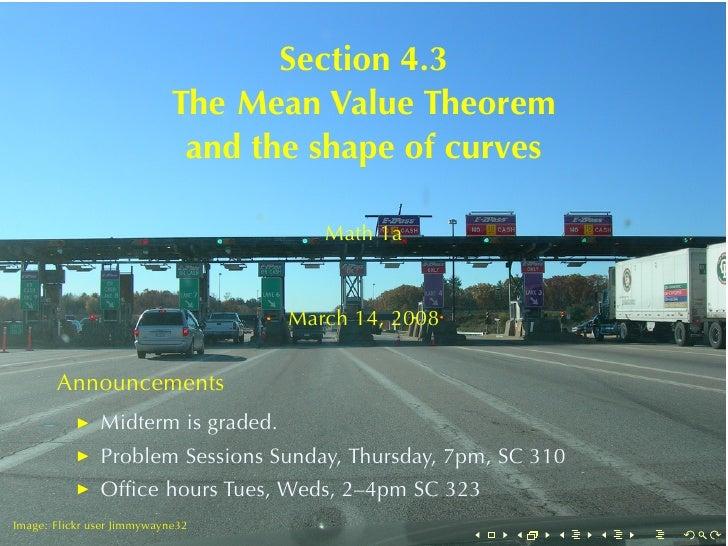 Section4.3                             TheMeanValueTheorem                              andtheshapeofcurves       ...