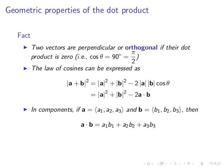 Vector projection equation