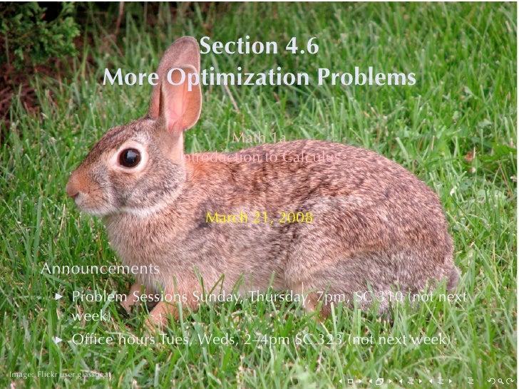 Lesson 20: (More) Optimization Problems