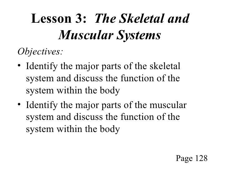 Lesson 3:  The Skeletal and Muscular Systems <ul><li>Objectives: </li></ul><ul><li>Identify the major parts of the skeleta...