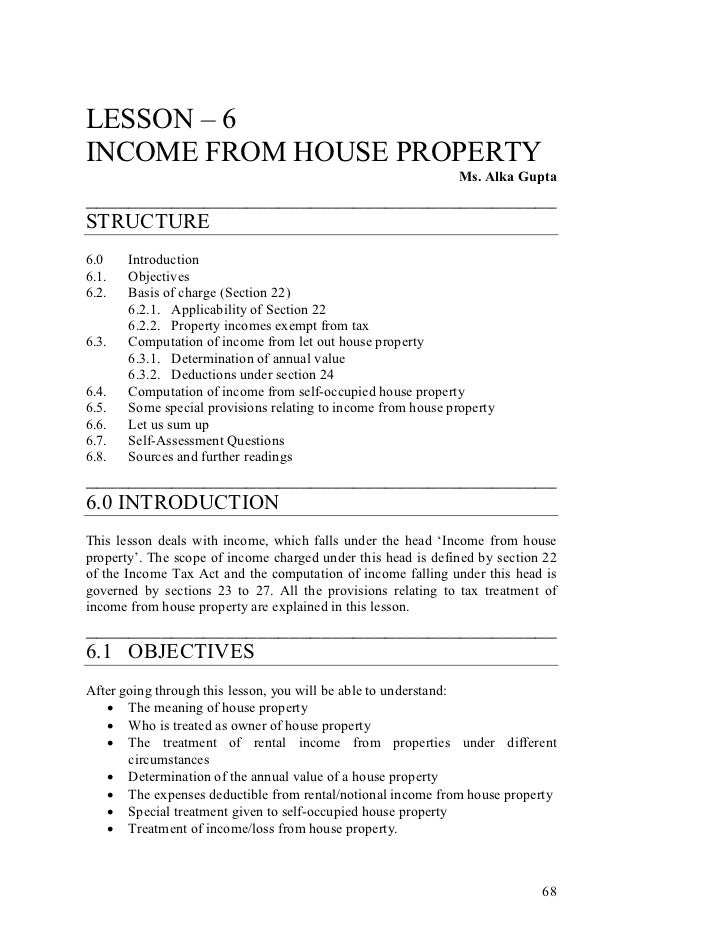 LESSON – 6INCOME FROM HOUSE PROPERTY                                                              Ms. Alka Gupta__________...
