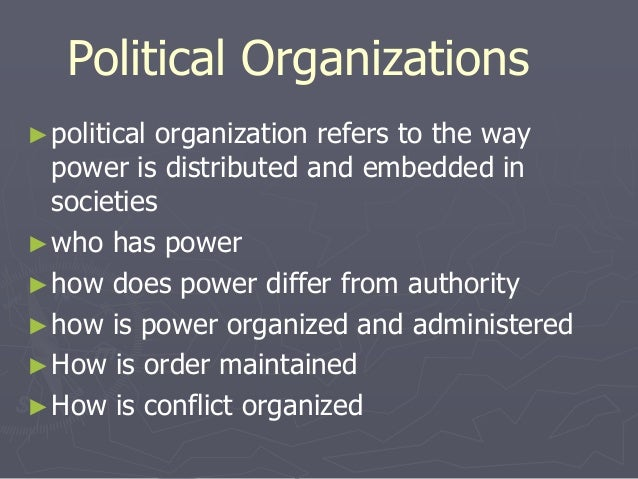 political organization Definition of organizational politics: the pursuit of individual agendas and self-interest in an organization without regard to their effect on the organization's.