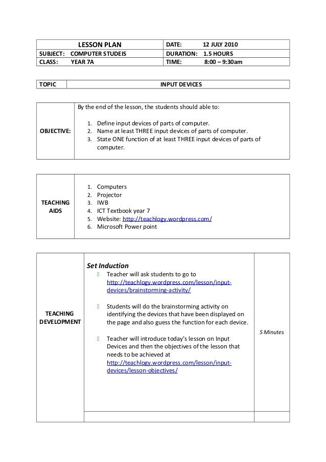 Madeline hunter lesson plan example