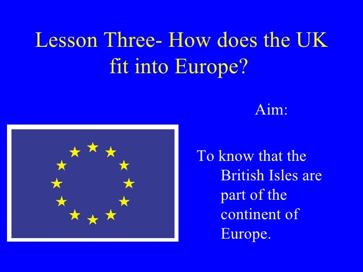 Lesson Three- How does the UK fit into Europe?   Aim: To know that the British Isles are part of the continent of Europe.