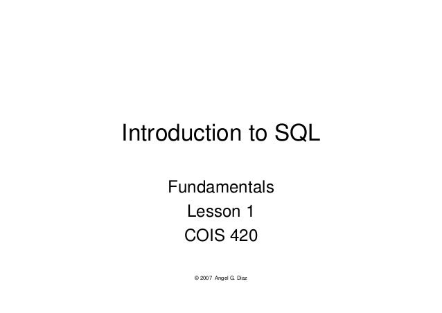 Lesson 01 - Introduction to SQL