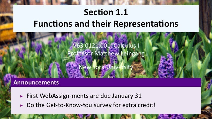 Lesson 1: Functions and their representations (slides)