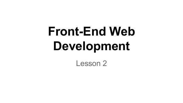 Front-End Web Development Lesson 2