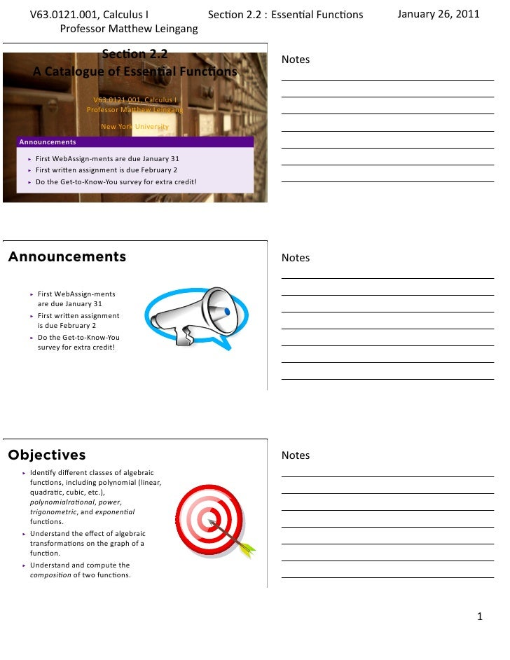 Lesson 2: A Catalog of Essential Functions (handout)