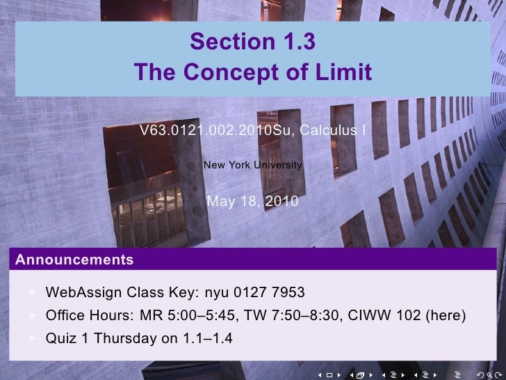Section 1.3                The Concept of Limit                  V63.0121.002.2010Su, Calculus I                          ...