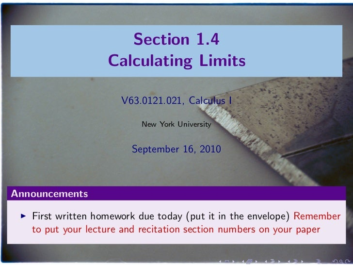 Lesson 4: Calculating Limits (Section 21 slides)
