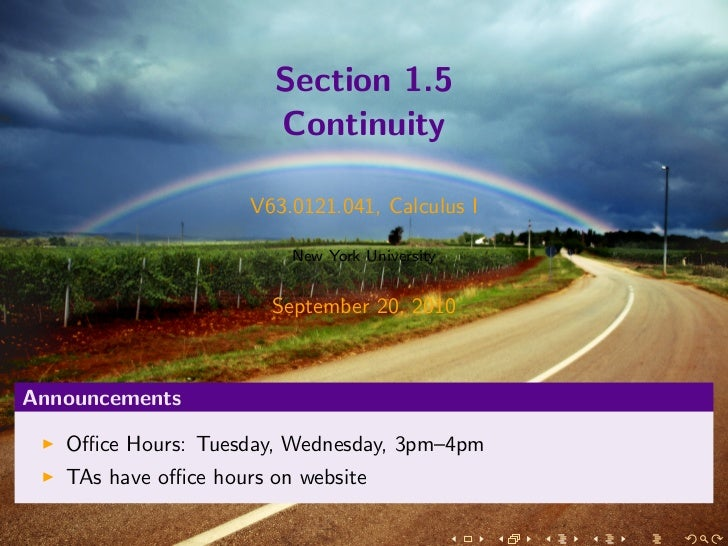 Section 1.5                       Continuity                     V63.0121.041, Calculus I                         New York...