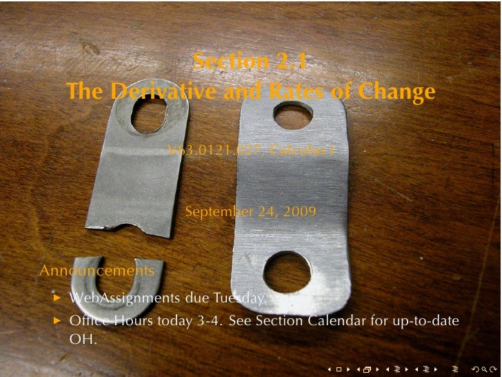 Section2.1    TheDerivativeandRatesofChange                   V63.0121.027, CalculusI                        Septem...