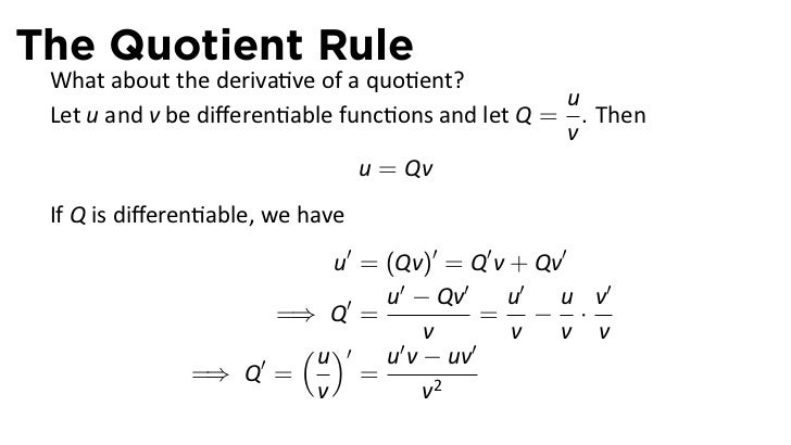 Quiz amp Worksheet  Using the Quotient Rule for