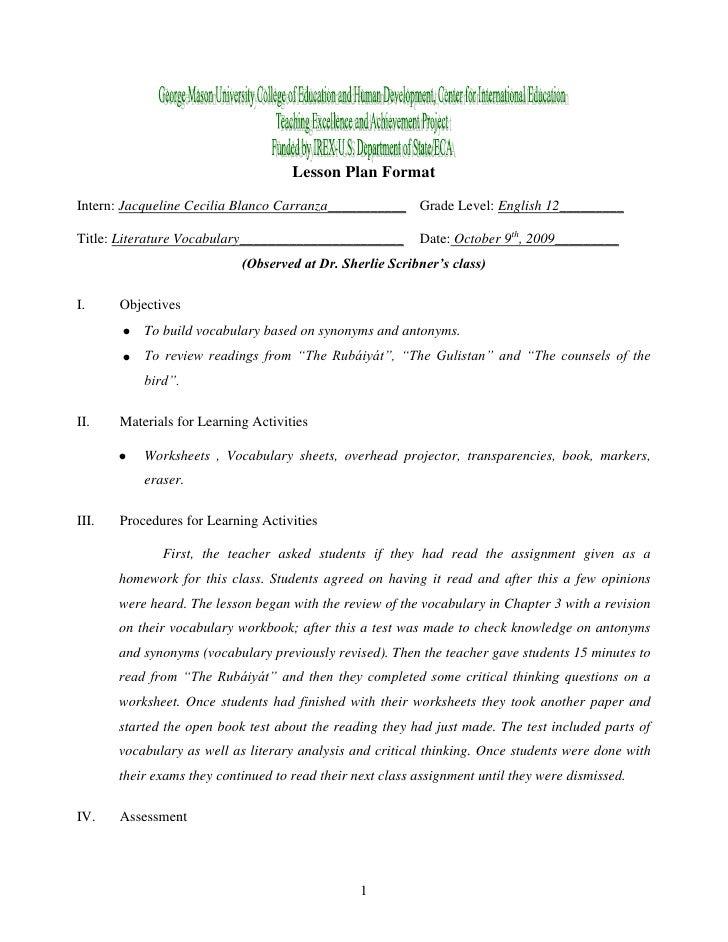Lesson Plan Format<br />Intern: Jacqueline Cecilia Blanco Carranza___________Grade Level: English 12_________<br />Title: ...