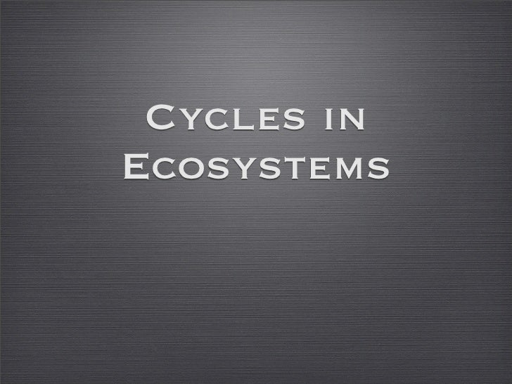 Cycles inEcosystems