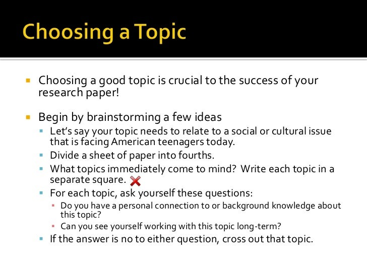 Choosing Topic For Research Paper