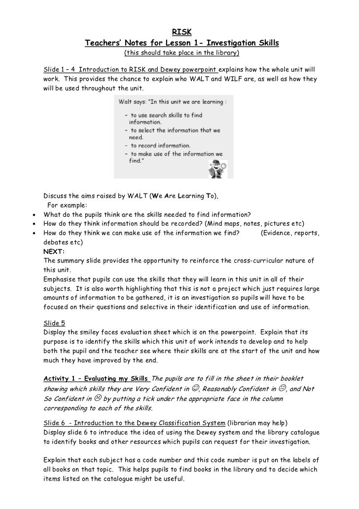 RISK                 Teachers' Notes for Lesson 1- Investigation Skills                               (this should take pl...