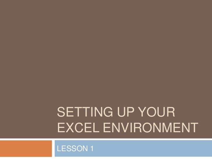 SETTING UP YOUREXCEL ENVIRONMENTLESSON 1