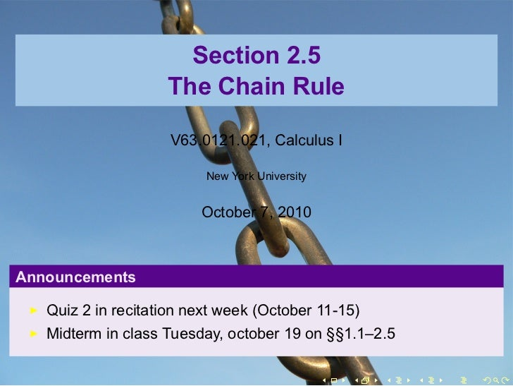Section 2.5                    The Chain Rule                     V63.0121.021, Calculus I                          New Yo...