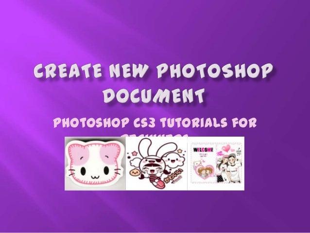 Adobe Photoshop Creating New Document