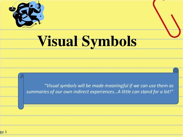 """ogy 1 """"Visual symbols will be made meaningful if we can use them as summaries of our own indirect experiences…A little can..."""