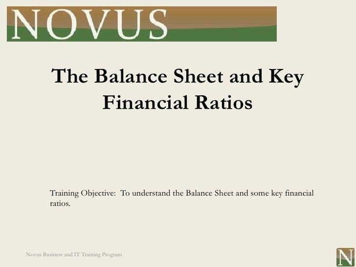 Lesson 13: Balance Sheet and Key Financial Ratios