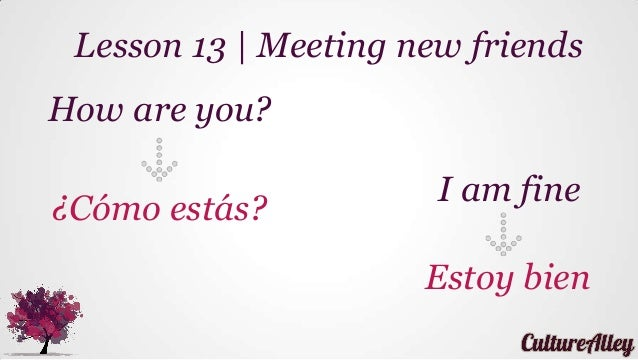 Basic Spanish | Lesson 13 | Meeting new friends (how are you?, I am fine), using verb estar
