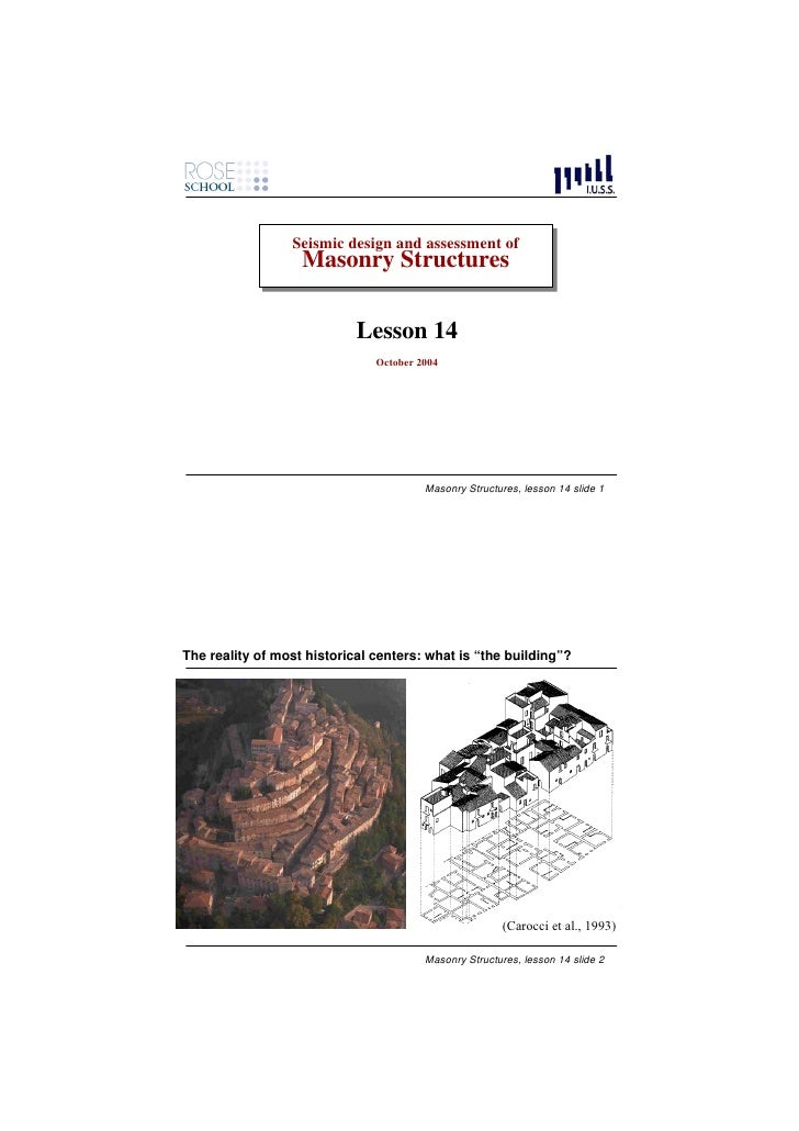 Seismic design and assessment of                  Seismic design and assessment of                    Masonry Structures  ...