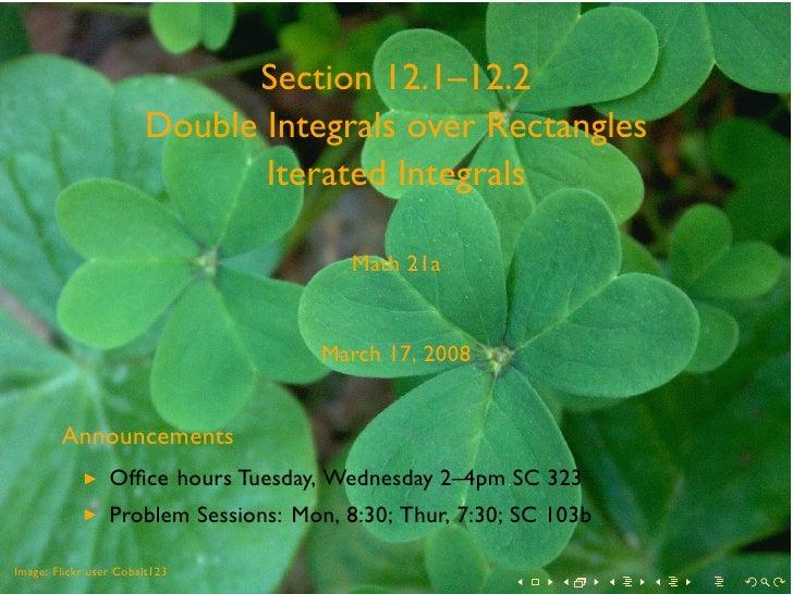 Lesson18   Double Integrals Over Rectangles Slides