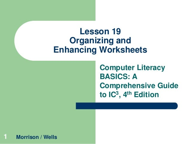 Lesson 19 Organizing and Enhancing Worksheets Computer Literacy BASICS: A Comprehensive Guide to IC3, 4th Edition  1  Morr...