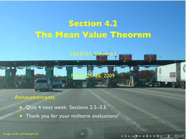 Section 4.2                        The Mean Value Theorem                                    V63.0121, Calculus I         ...