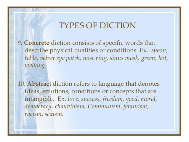 Levels types of diction for Concrete diction
