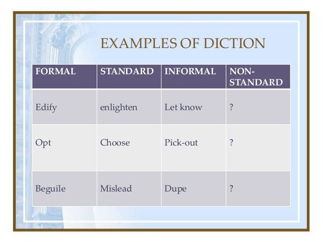 DICTION EXAMPLES - alisen berde