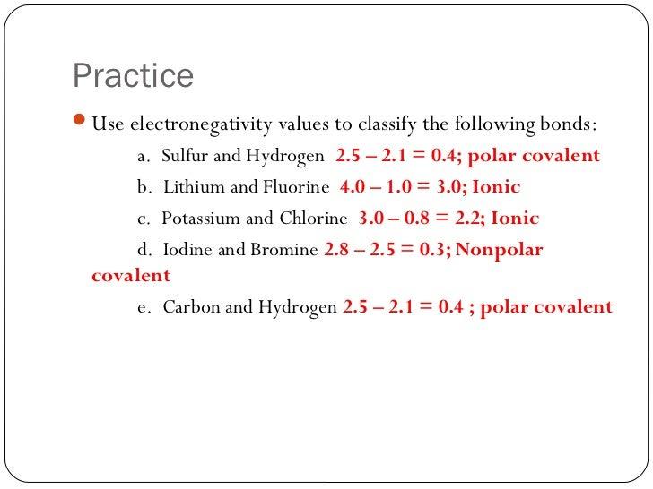 Electronegativity Values For Polar Electronegativity Values