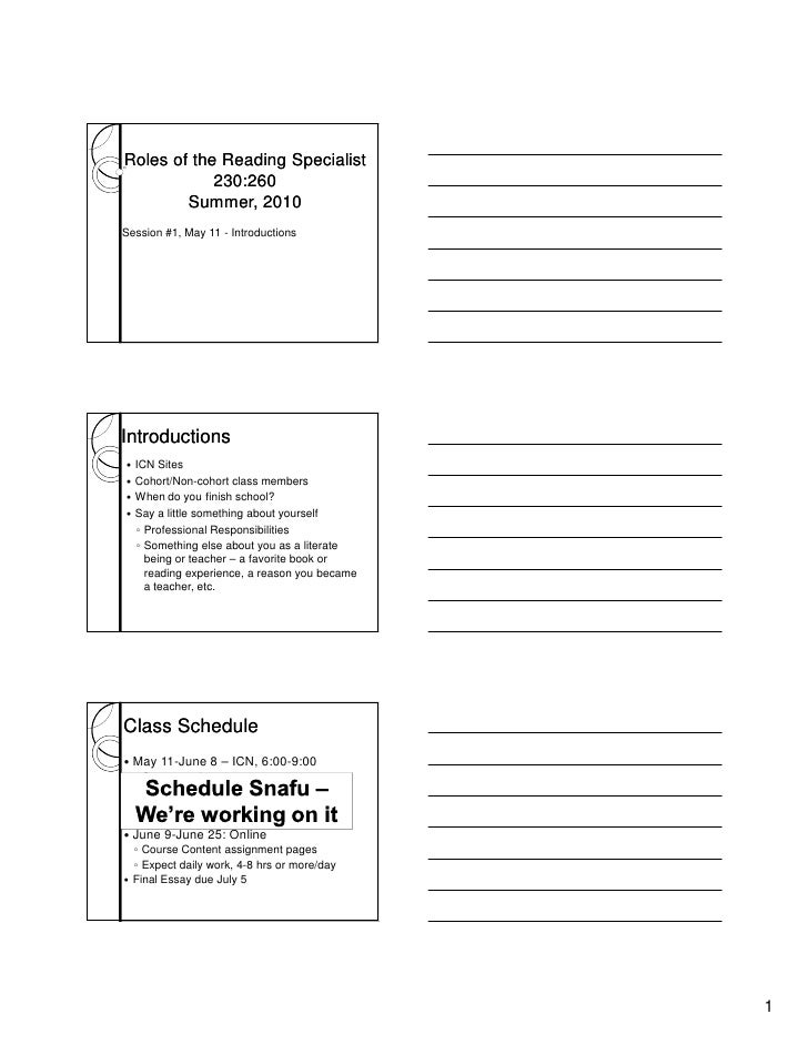 Roles of the Reading Specialist             230:260         Summer, 2010 Session #1, May 11 - Introductions     Introducti...