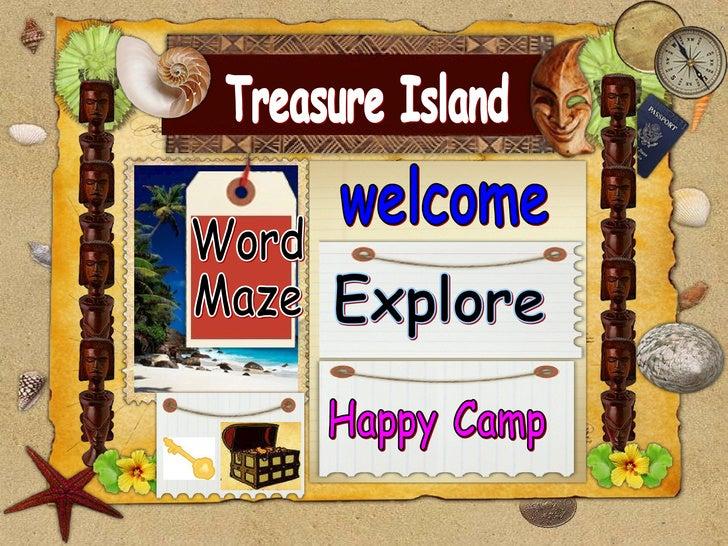 Treasure Island welcome Word  Maze Explore Happy Camp