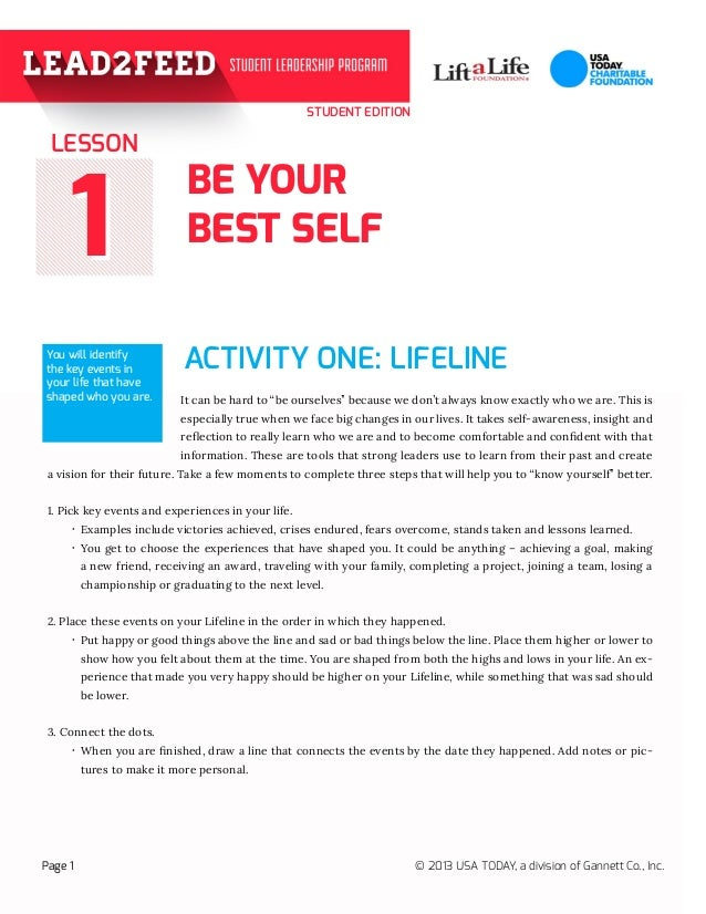 """STUDENT EDITION BE YOUR BEST SELF ACTIVITY ONE: LIFELINE 11 It can be hard to """"be ourselves"""" because we don't always know ..."""