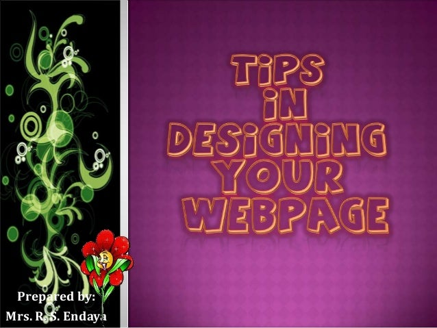 Tips in designing a webpage