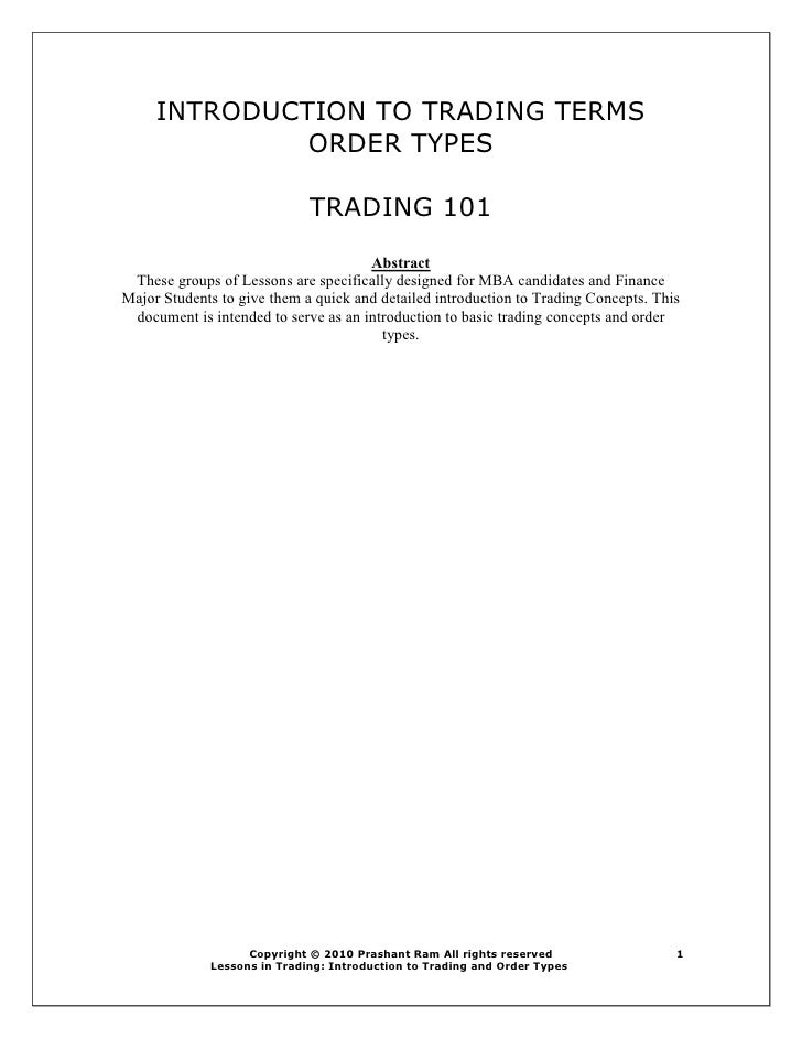 Introduction To Trading And Order Types