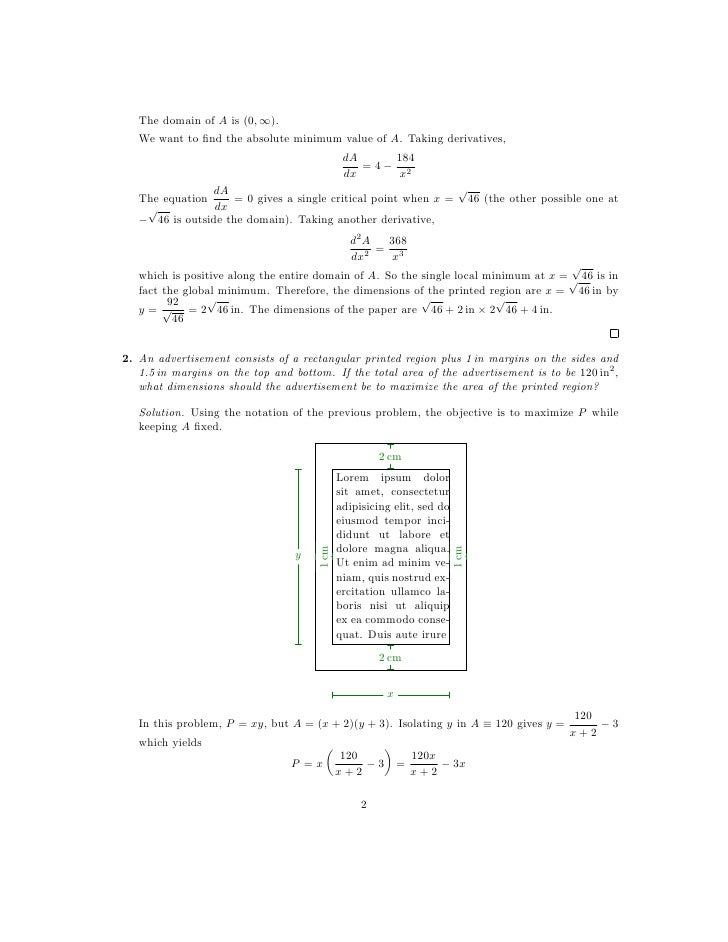 Worksheets Application Of Optimization  Work Sheet With Solution lesson 22 optimization problems worksheet solutions
