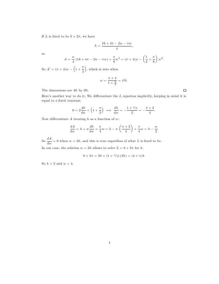 Worksheets Application Of Optimization  Work Sheet With Solution lesson 22 optimization problems worksheet solutions 4