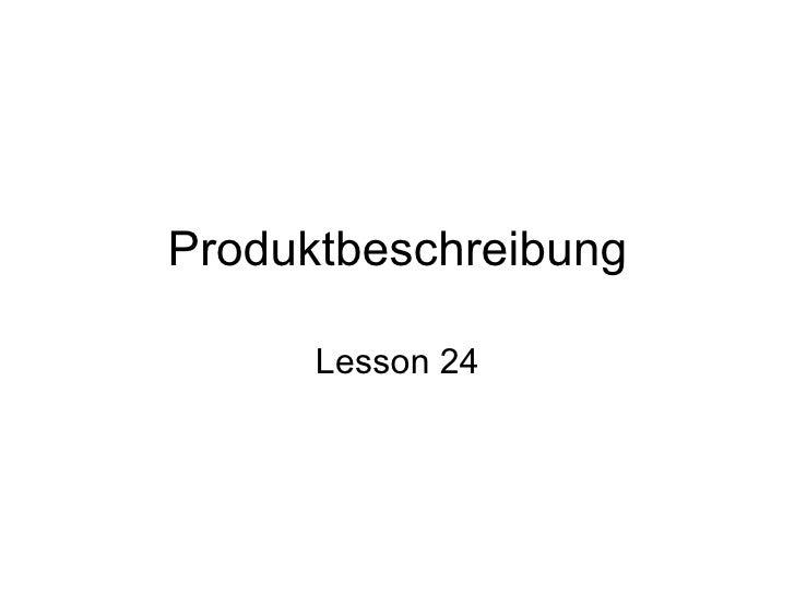 Produktbeschreibung Lesson 24